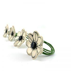 four ceramic anemone flower napkin rings